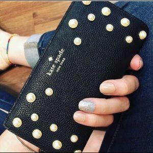 Black Kate Spade wallet- button closure & pearls